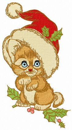Too small to be Santa machine embroidery design. Machine embroidery design. www.embroideres.com #kitten #Christmas #plant #small #animal #cute #holiday #Santahat #beige #holly #Berry #embroidery #embroideres
