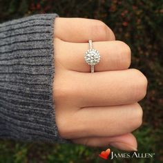 14K white gold pave halo and shank diamond engagement ring