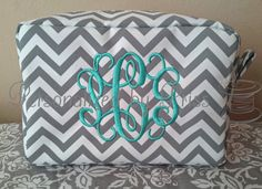 Grey and White Chevron Makeup Bag by PersonalizedbyPriss on Etsy, $25.00 Perfect Bridesmaid Gift!