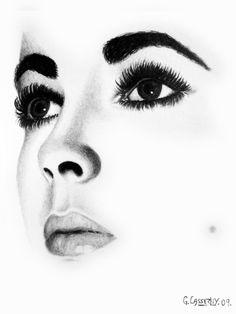 """Ged Casserley; Pencil, Drawing """"Elizabeth Taylor:"""""""