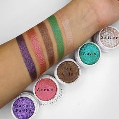 """WEBSTA @ colourpopfun - Swatchesss of the Ultra-Glitter #SuperShockShadows ✨These shadows run a bit sheer (except for """"Dance Party"""") but you can obviously build up the product. These would be great on top of a base! Each shade is about 2-3 layers, except """"Dance Party"""" being 1! My favorite has to be """"Sailor"""" because of the green-ish flip to it! Check my IG stories or Snapchat(COLOURPOPFUN) to get a better idea of Sailor! 💖....#colourpopfun #colourpop #colourpopcosmetics #colourpopme…"""