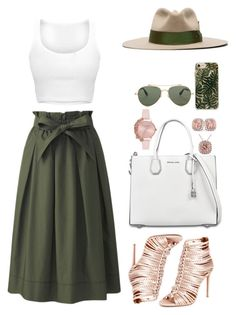 A fashion look from January 2018 featuring white shirt, high-waisted midi skirts and strappy heeled sandals. Browse and shop related looks. Cute Casual Outfits, Pretty Outfits, Stylish Outfits, Girly Outfits, Beautiful Outfits, Mode Outfits, Fashion Outfits, Womens Fashion, Fashion Trends