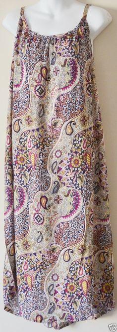 BOHO HIPPY CHIC SALE Ladies Retro Printed Singlet Maxi Dress Brown FS 8-18
