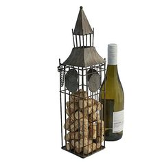 Wine Racks - Big Ben Wine Bottle Holder and Cork Holder By Thirteen Chefs -- To view further for this item, visit the image link.