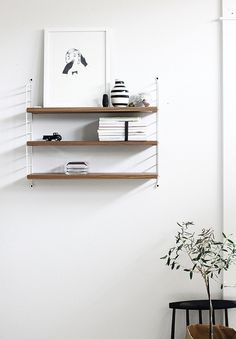 the string shelf white + walnut Decoration Inspiration, Interior Design Inspiration, String Regal, String Shelf, Estilo Interior, Home And Deco, Scandinavian Interior, Scandinavian Design, My New Room