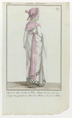 Journal des Dames et des Modes, Costume Parisien, 18 février 1798, (7) : Capote de Satin..., Anonymous, 1798