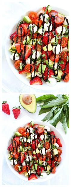 Avocado Strawberry Caprese Salad Recipe on twopeasandtheirpo... Avocado and strawberries make this caprese salad extra special. It is a great salad for spring and summer!