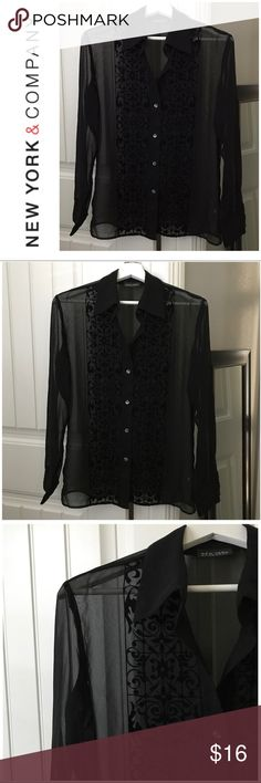 NY&C Sheer Blouse Size S NY&C Embossed Sheer Black Blouse Size S. Beautiful black blouse with embossed detailing in front. Very classy and elegant!! 😍 New York & Company Tops Blouses