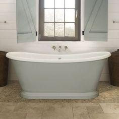 BC Designs Freestanding Boat Bath x Double-Skinned Acrylic White - Small Freestanding Bath, Small Bathroom With Bath, Bath Under Window, Bath Window, Wall Mounted Bath Taps, Wall Hung Vanity, Bathroom Renos, Bathroom Interior, Bathroom Ideas