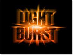 Amazing light burst text effect using photoshop.