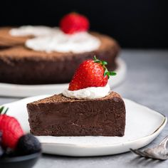 This Flourless Chocolate Truffle Cake Recipe is a gluten-free dessert for serious chocolate lovers. It's made with only 7 ingredients and is the perfect make-ahead treat for any party! #glutenfree #flourless #chocolatecake #chocolate #dessert #recipe