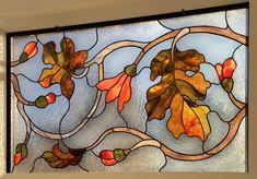 оконный витраж Цветы и листья. фрагмент