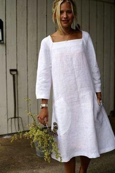 Одноклассники What a fun linen dress! This is my style! Fashion Books, Boho Fashion, Fashion Dresses, White Linen Dresses, Cotton Dresses, Casual Dresses, Summer Dresses, Midi Dresses, Mode Boho