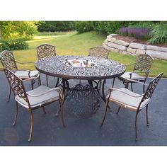 Outdoor Oakland Living Mississippi 60 in. Patio Dining Set - Seats 6 - 2205-2120-