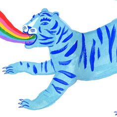 Rainbow Roar by Sarah Walsh Cello, Illustrations, Illustration Art, Pink Cotton Candy, Mystique, Wall Collage, All Print, Spirit Animal, Cute Drawings