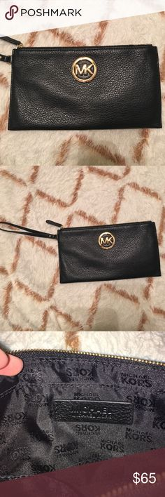Michael Kors wristlet with wallet inside Michael Kors wristlet with card holder inside. Black leather with gold accents. Perfect condition. Michael Kors Bags Clutches & Wristlets