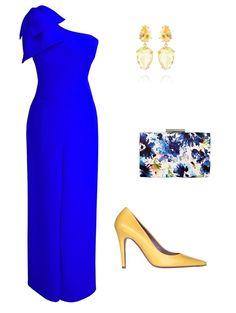 Look para invitada a bodas con mono azul y zapato amarillo