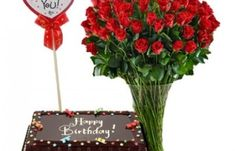 11 Red Roses in Vase w/ Chocolate Cake birthday gift rose