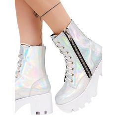 Current Mood Chiller Holographic Platform Boots ($88) ❤ liked on Polyvore featuring shoes, boots, holographic platform shoes, laced up shoes, platform lace up shoes, platform boots and lace-up boots