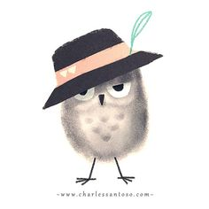 Charles Santoso owl in a hat picture Owl Art, Bird Art, Owl Illustration, Wise Owl, Sketch Painting, Illustrations Posters, Cute Art, Collages, Cute Animals