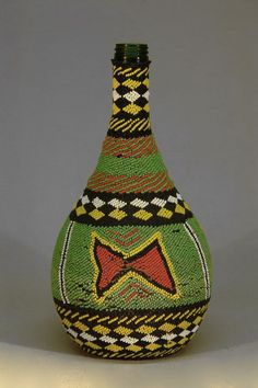 Africa |  Old Beaded Bottle.  Shangaan people from Tsonga or North Sotho, South Africa
