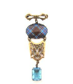 Scottish Tartan Jewelry - Ancient Romance Series- Anderson Clan Tartan Ornate Bow Brooch with Light Blue Topaz Glass Gem Charm by DivaDesignsInc on Etsy