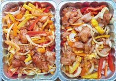 4. Oven Baked Chicken Fajitas   3 slices bell peppers per tray* 1-2 large sliced onions per tray* 6 sliced raw chicken breasts per tray* olive oil
