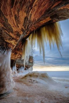 Ice caves on Apostle Islands, Bayfield, Wisconsin