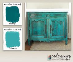 Using Florence and Provence gave this sideboard a range of green tones. Dark Wax brought out the fine details and gave the finish a stain-like look It's a pop of color in a neutral room. But every time I see it I consider toning it down.