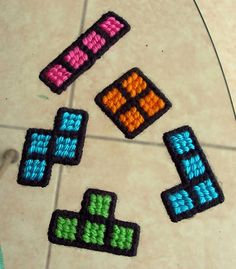 Cross stitch #Tetris magnets - this may be how I introduce my kids to cross stitching!