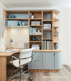 Neville Johnson has over 30 years' in creating innovative fitted furniture. We have stunning collections of fitted furniture and staircase renovations. Study Table Designs, Study Room Design, Modern Study Rooms, Study Office, Study Desk, Bespoke Furniture, Home Office Furniture, Furniture Ideas, Furniture Design