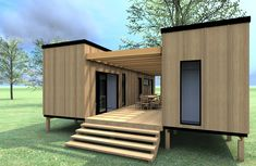 Trinidad model design - living area in one container, sleeping and bathrooms in the other container.