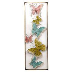 Inart Πίνακας μεταλλικός πεταλούδες 3-90-386-0003