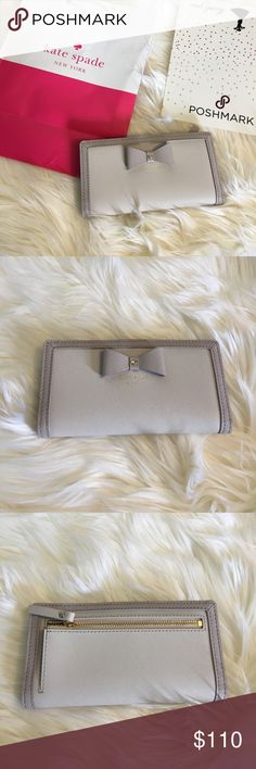 Kate Spade Stacy bow wallet NWT buttons closed, many pockets and credit card holders, open to reasonable offers, no trades🎀 lilac colors 6.75 inches long, 3.3 inches tall kate spade Bags Wallets