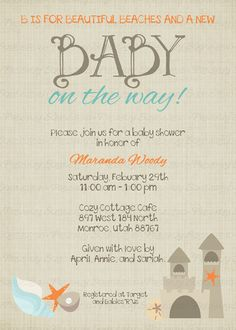 Sea Turtle Baby Shower Invitation Under the Sea Baby Shower Invite