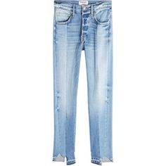 Frame Denim Patchwork Straight Cropped Jeans (1,690 MYR) ❤ liked on Polyvore featuring jeans, pants, bottoms, blue, straight-leg jeans, cropped jeans, blue jeans, straight leg jeans and frame jeans