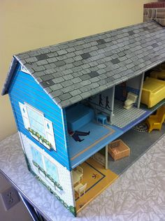 Vintage 1950 Marx Tin Litho Colonial Doll House Furniture 73 Pieces VGC   eBay