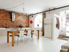 natřená cihlová zeď do kuchyně - Hledat Googlem