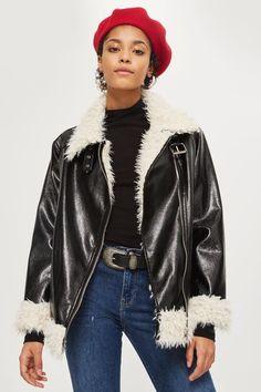 19e6ef2b039 Faux Fur Lined Vinyl Biker Jacket Cold Weather Fashion