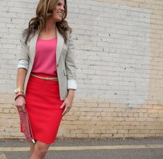 Red + Pink at the office  http://marionberrystyle.blogspot.com/