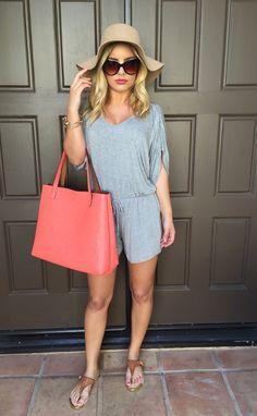 Taking It Easy Jersey Romper - Heather Grey