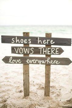 We adore this rustic beach wedding sign, 2014 Beach Wedding Sign design www.loveitsomuch.com