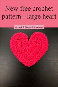 Free crochet pattern for a large heart - worked in chunky yarn, this one is about 10cm across.  Smaller versions are available on my blog. Free Heart Crochet Pattern, Crochet Bolero Pattern, Crochet Applique Patterns Free, Crochet Blanket Patterns, Crochet Motif, Amigurumi Patterns, Free Crochet, Crochet Unicorn Hat, Crochet Snail