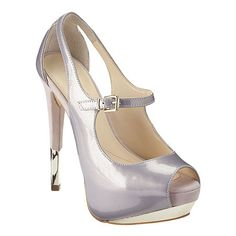 "#Boutique9 Mary Jane peep toe pump.  All leather upper with foil accent.  5 1/2"" heel with 1 1/2"" platform."