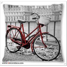 Original cojín grande Bici Roja Antic / Decoración vintage romántica - DECORATECA