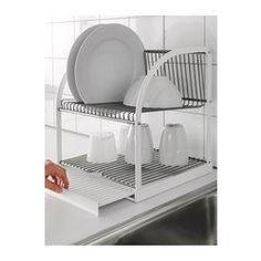 "IKEA - BESTÅENDE, Dish drainer, The dish drainer can be made larger by pulling out the tray, so you can fit a lot of dishes in a small area.The removable tray collects water from the dish drainer.Holds large plates with a dia. up to 13"" as well."
