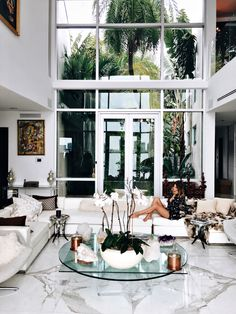 Living room interior, home living room, living room decor, l couch, marble interior Glam Living Room, Living Room Interior, Home And Living, Living Spaces, Living Rooms, Modern White Living Room, Home Modern, Home And Deco, House Rooms