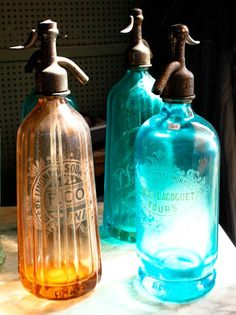 Vintage Seltzer Glass Colorful Bottles Paris door rebeccaplotnick, $30.00