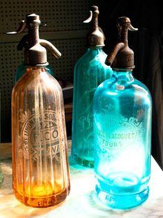 Vintage Seltzer Glass Colorful Bottles Paris door rebeccaplotnick, $30.00