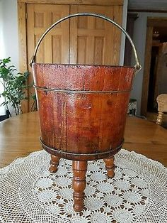 "Antique Wood Water Pail Bucket Brass Handle Bands Converted to Stand 17""t×14""w"